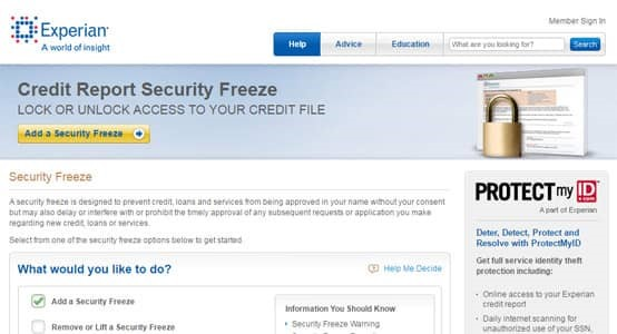 Placing a security freeze on your report