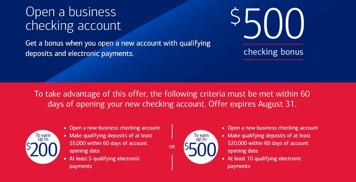 $500 Bonus – Business Checking account