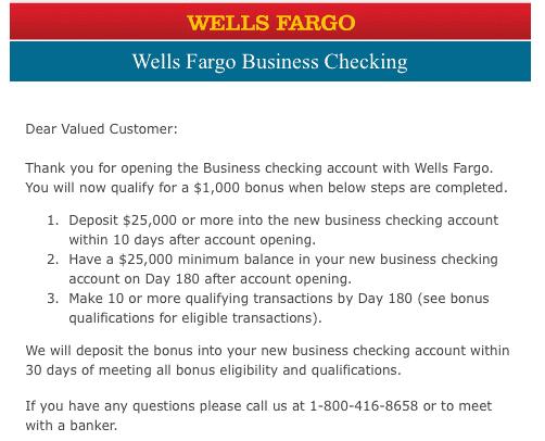 Wells Fargo $1,000 Business Checking Bonus