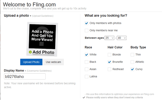Signing Up of Fling.com